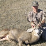 Don McAfee, I shot this buck on 11-06-04 in Eastern Montana. He is 23 wide 20 tall has 5 inch eyeguards and 6 inch bases.